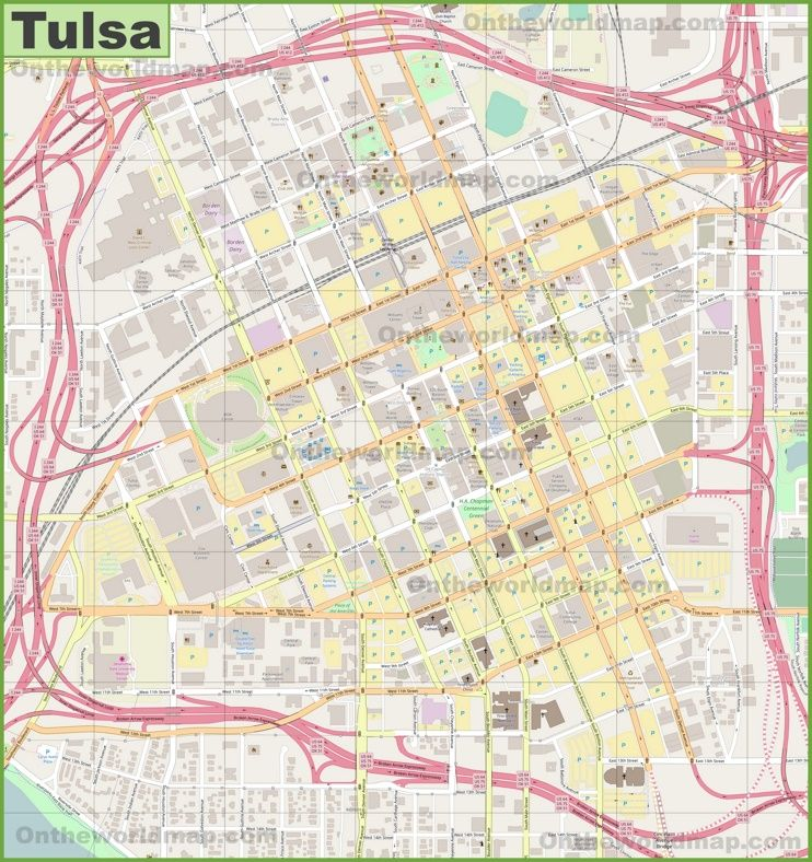 Large detailed map of Tulsa Maps Pinterest Usa cities and City