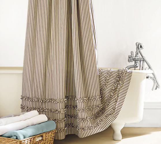 Ruffled Ticking Stripe Shower Curtain Black Almond