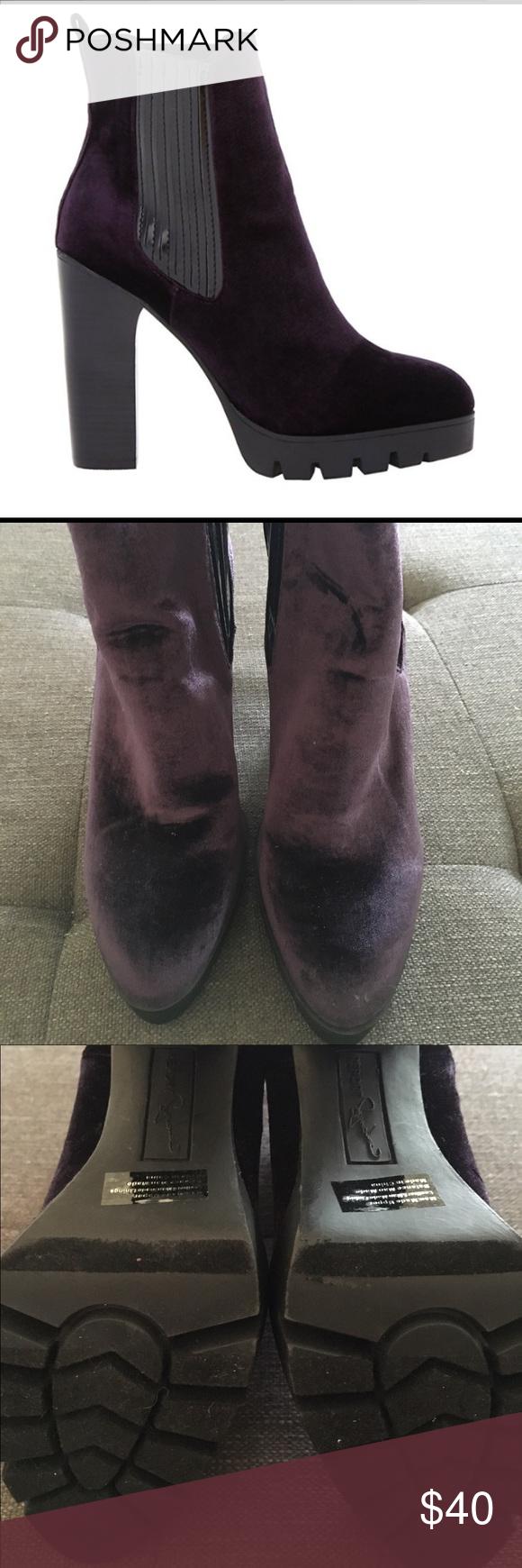 8ec5d2a5d Report Signature Polk Chelsea Boot Deep purple velvet-like soft high ankle  bootie. Pull