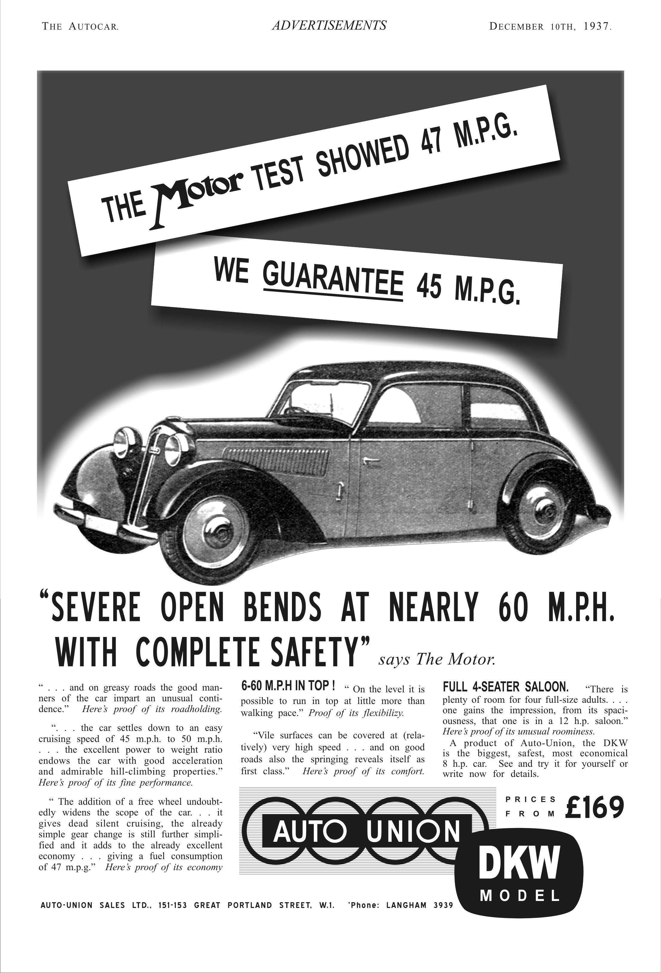 Auto Union DKW Model Autocar Car Magazine 1937   Horch, DKW ...