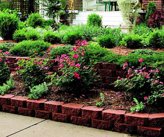 Curb Appeal on a Dime | Terraced landscaping, Sloped front ... on Terraced Front Yard Ideas id=22401