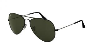 875ba029d11 Ray Ban RB3025 Aviator Sunglasses Shiny Black Frame Crystal Deep Green Len