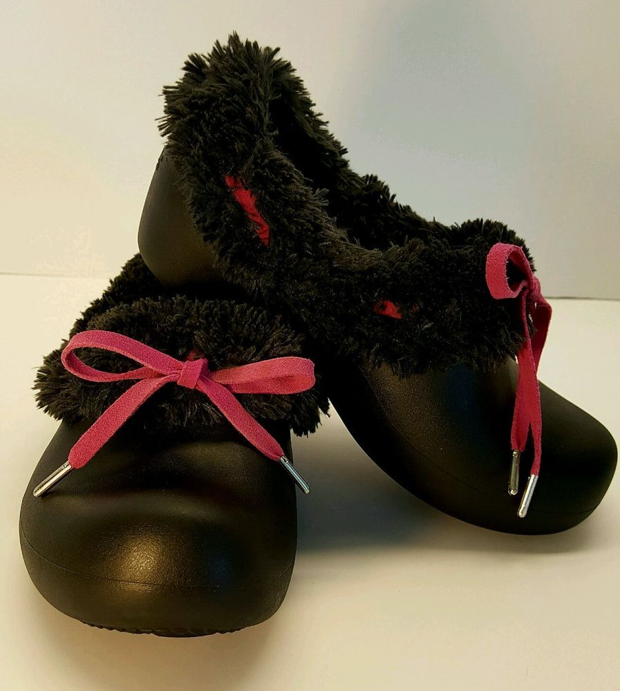 c542538e089b2a ... Crocs Gretel black faux fur lined slip on shoes hot pink lace Girls Sz  Jr. ...