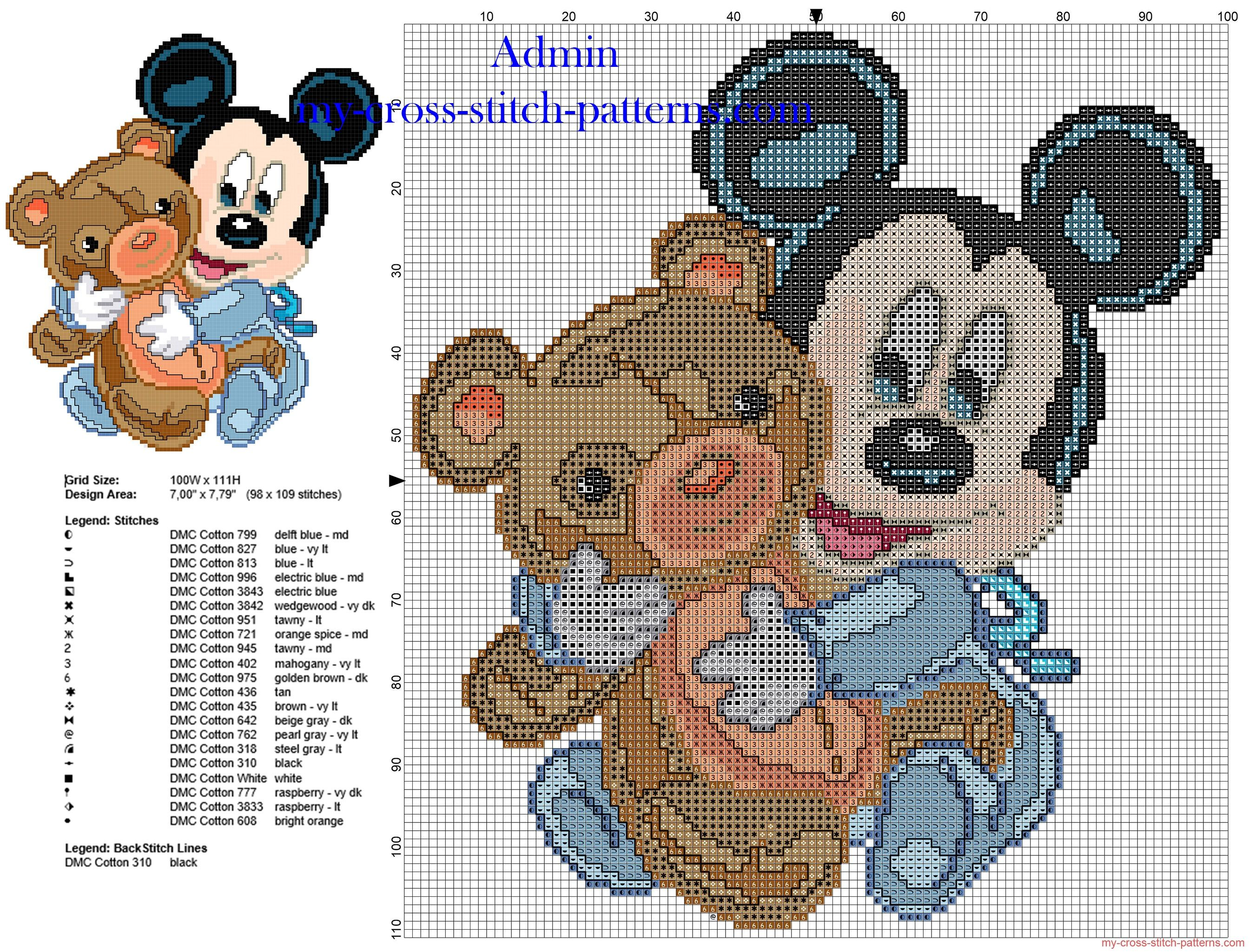 Bebé Mickey Mouse con el peluche patron punto de cruz Disney ...