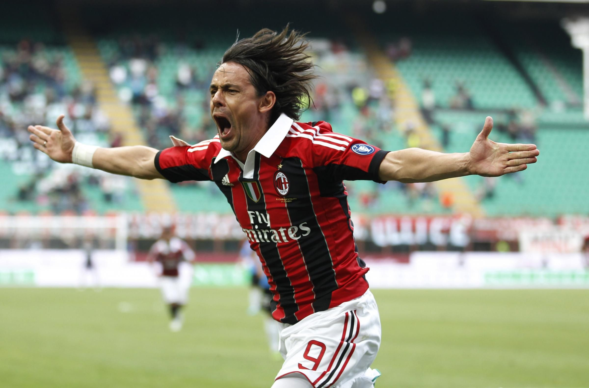 AC Milan forward Filippo Inzaghi celebrates after scoring during a