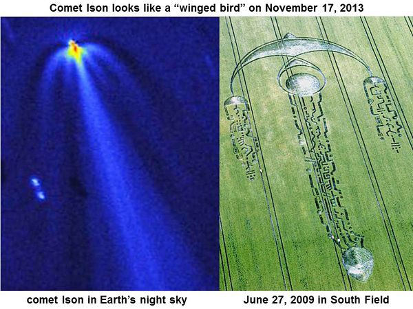 Many different images of comet Ison or its orbital path were drawn in crops, long before that comet was discovered by astronomers on Earth i...