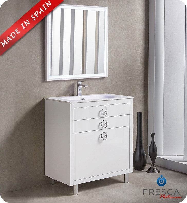Vmanhattan30wt In White By Ryvyr In Chicago Il V Manhattan 30wt Home Glass Bathroom Vanity Cabinet