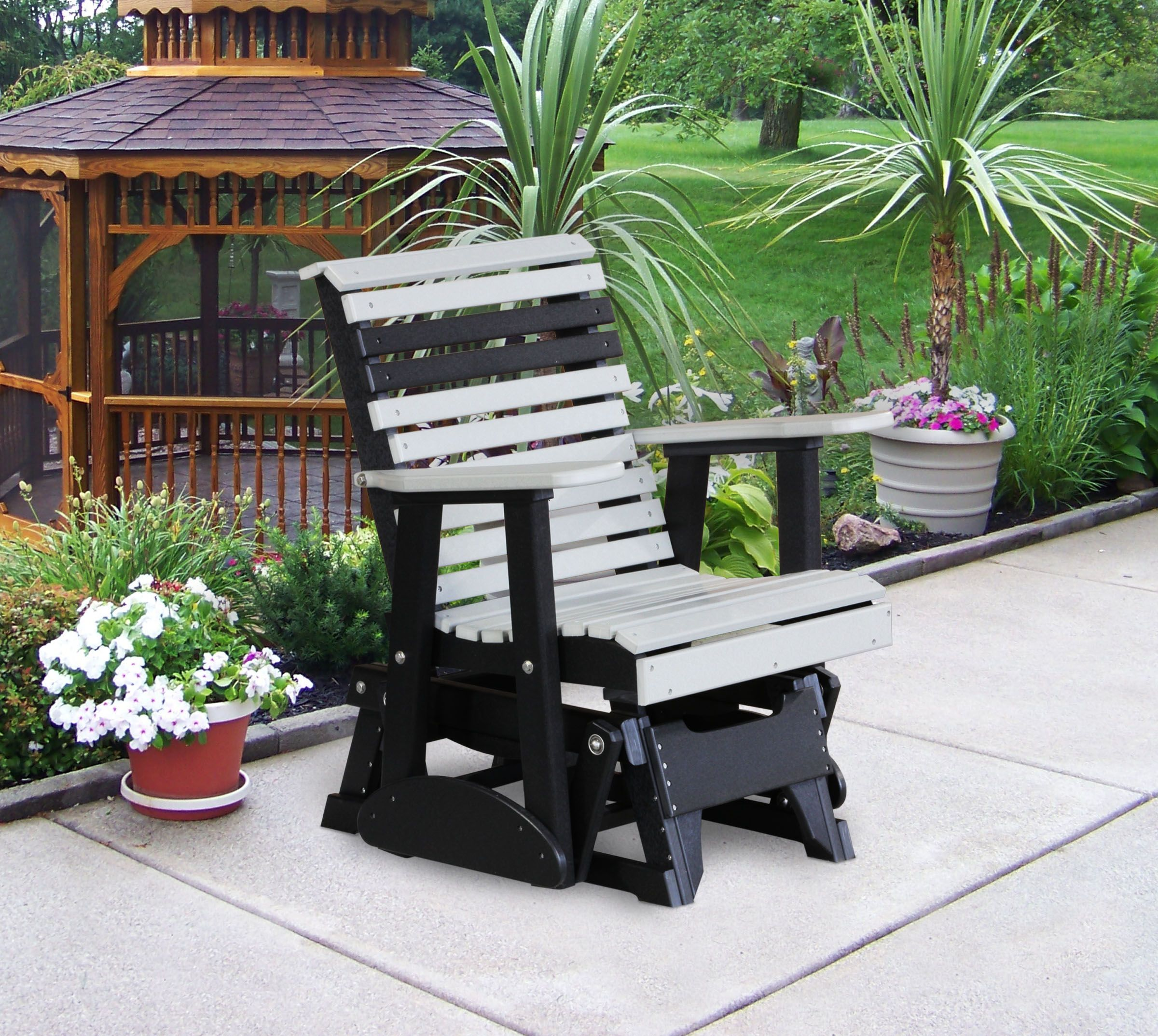 Ohio Glider Amish OUTDOOR Furniture Of Polyurethane TWO Foot Roll Back  Glider Chair Which Will Last