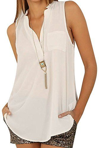 1ce3a0205998c5 OW Lady White Casual Button Loose V Neck Sleeveless Chiffon Blouse Top for  Women L >>> You can find out more details at the link of the image.