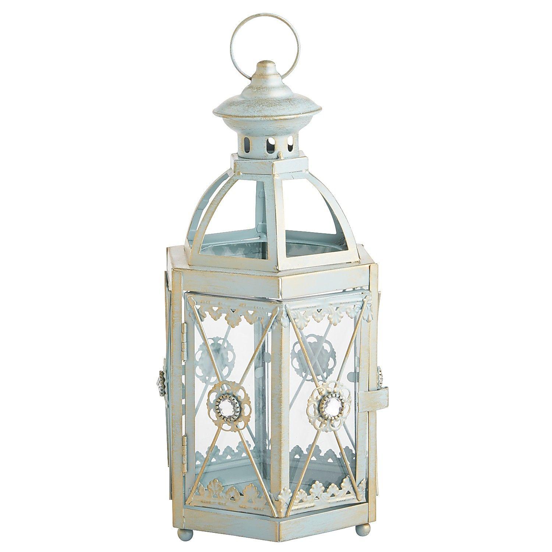 Jewel Hexagon Lantern Blue Mini