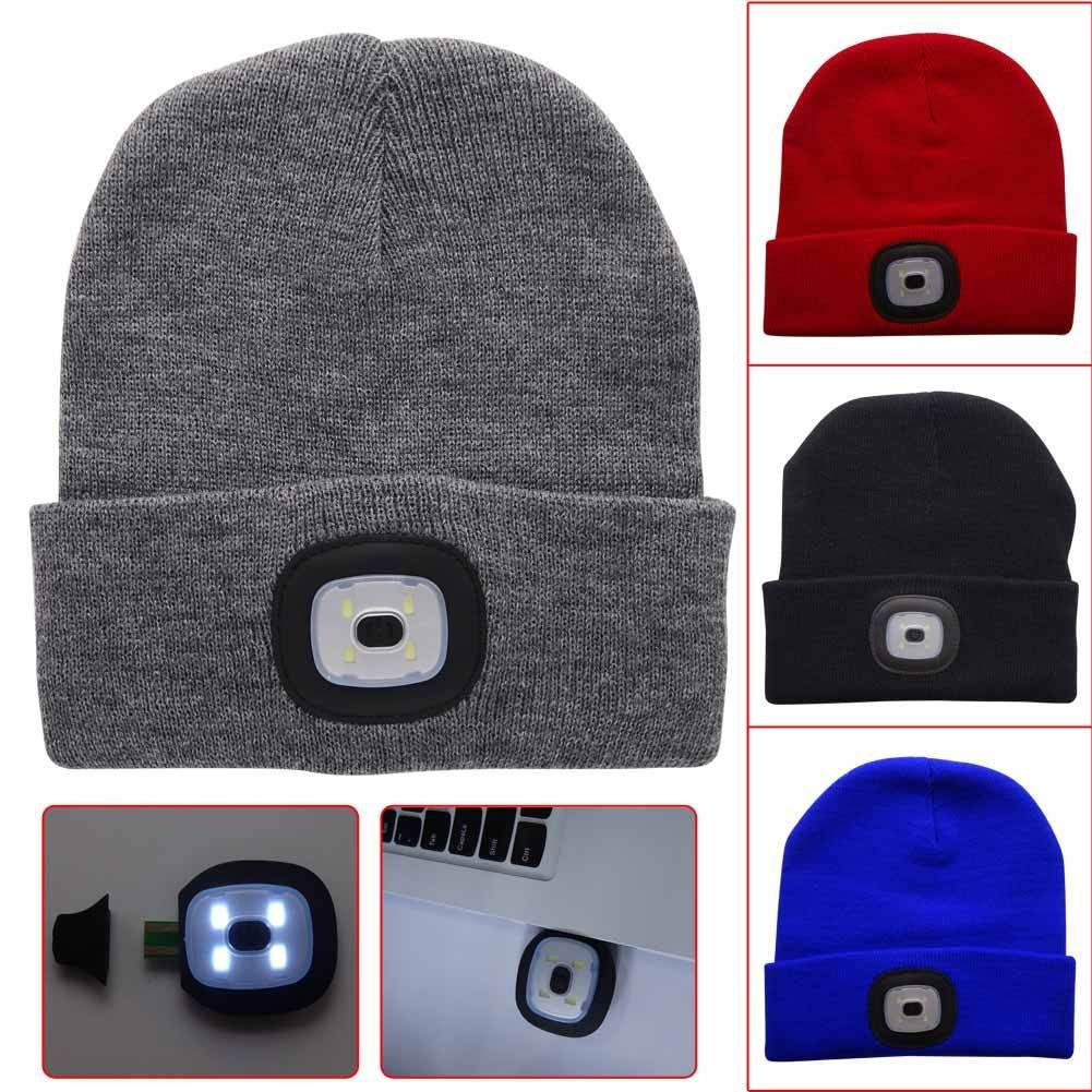 218a9f4fd8e9a LED Knitted Hat Beanie USB Rechargeable Hands Free Flashlight Headlamp Cap  for Climbing Fishing