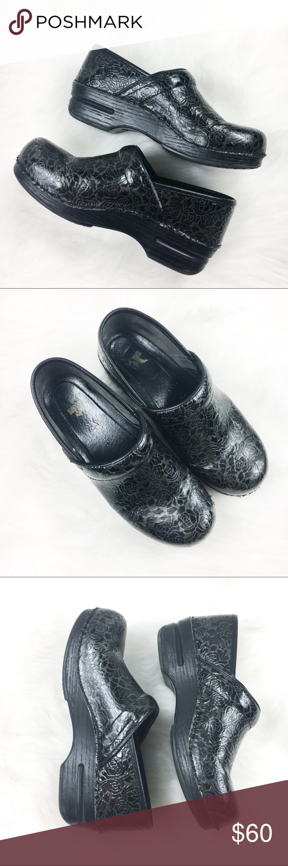 Black floral danskos dansko shoes clogs and floral black floral danskos good condition pre owned black floral danskos slip resistant nvjuhfo Image collections