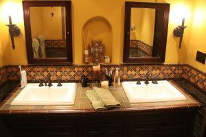 Custom made ceramic tile vanity bathrooms pinterest
