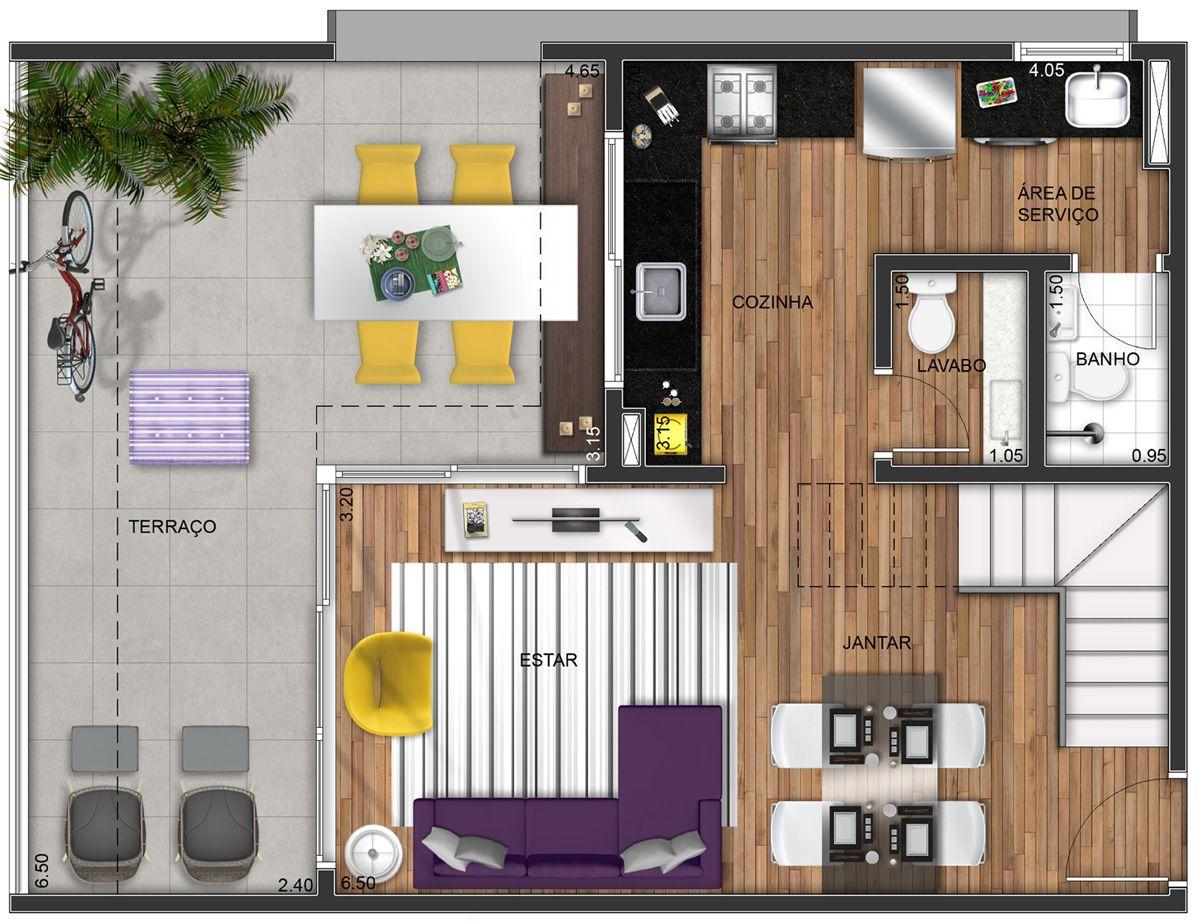 Layout duplex 1 t rreo plantas de casas pequenas for Casa minimalista 90m2