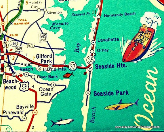 seaside new jersey map vintage new jersey map art new jersey