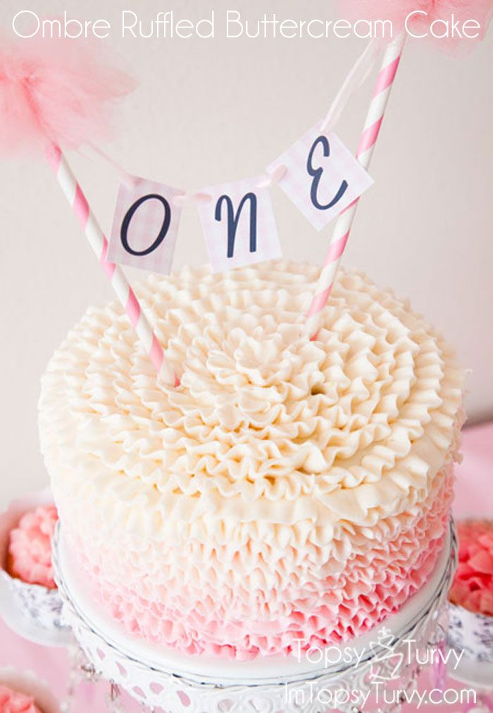 Ombre Ruffled Buttercream Cake First Birthday Cakes 1st