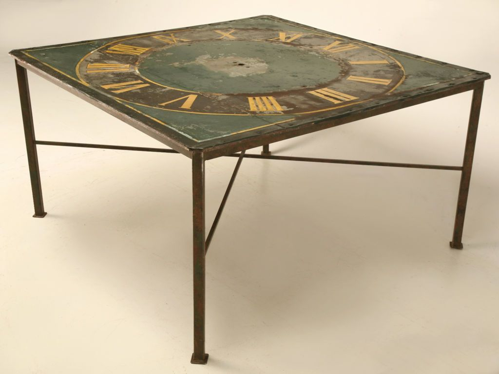 Clock coffee table an antique continental clock face mounted clock coffee table an antique continental clock face mounted onto a later metal base geotapseo Image collections