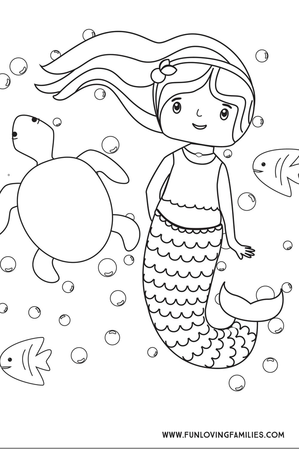 Download this simple mermaid coloring sheet for kids for a calm
