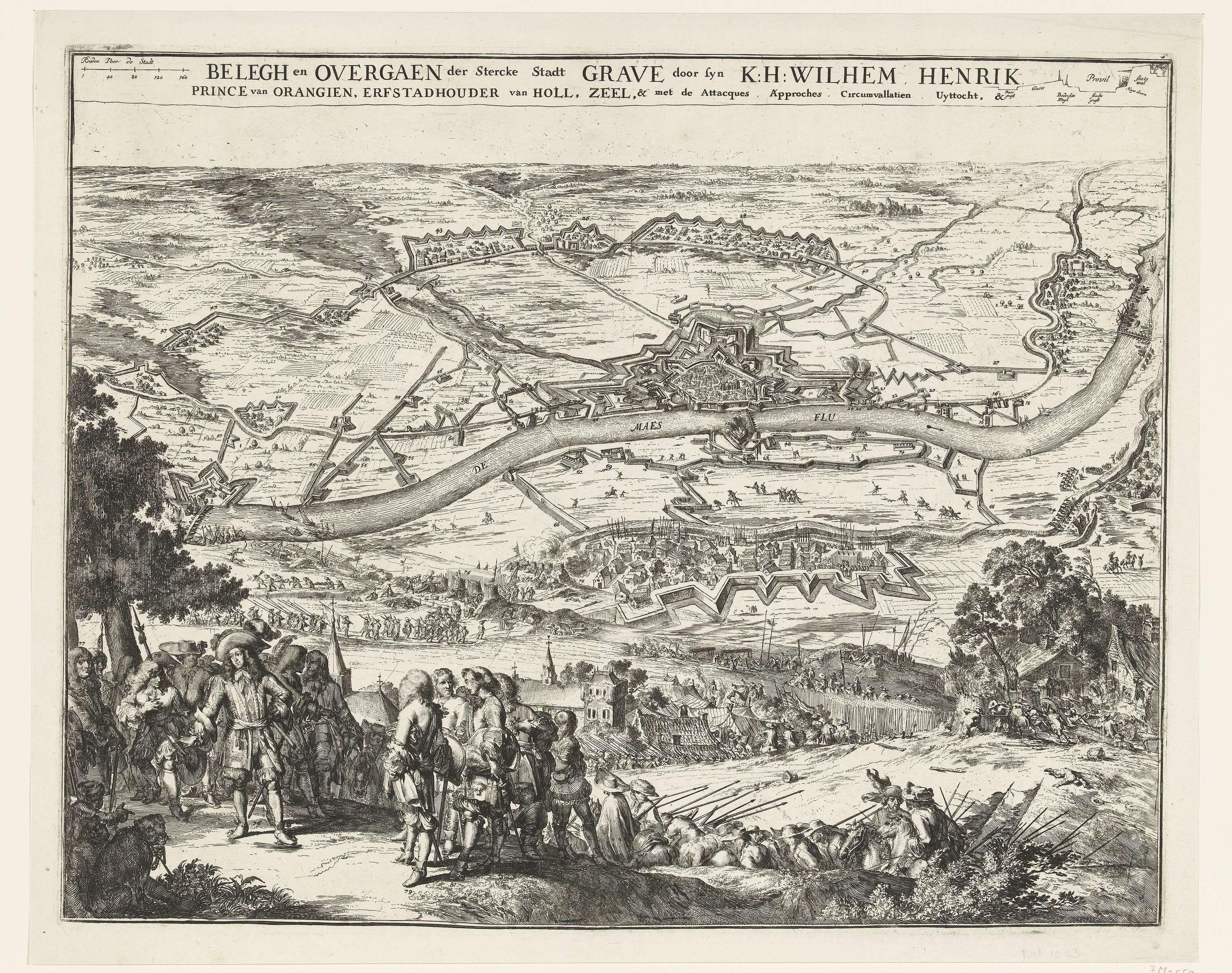 anoniem | Beleg en verovering van Grave door Willem III, 1674, attributed to Romeyn de Hooghe, 1674 | Beleg en verovering van Grave door Willem III, 25 juli tot 29 oktober 1674. Hoofdvoorstelling met een gezicht op de belegerde stad Grave aan de rivier de Maas en de posities van de belegerende troepen. Op de voorgrond Willem III met zijn staf.