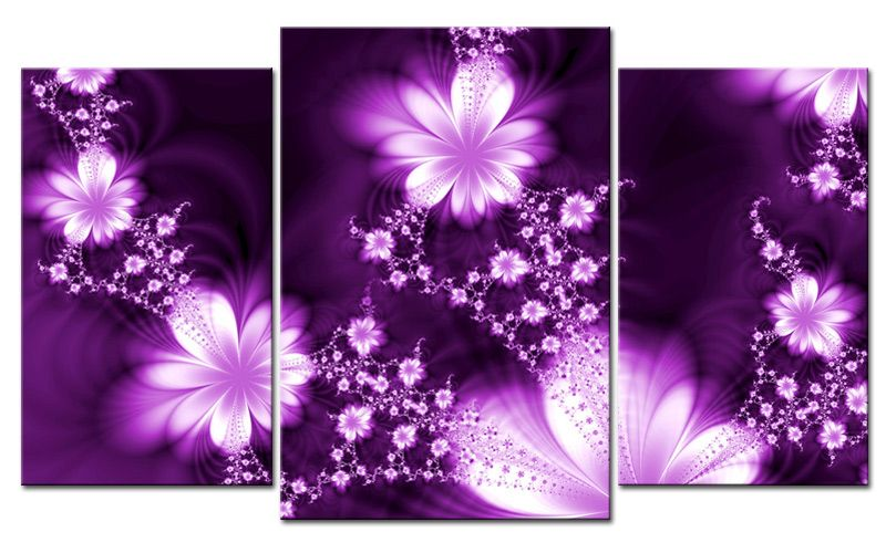 Giclee CANVAS PRINT FLOWER FLY PURPLE MODERN ART 3 parts FRAMED Huge ...