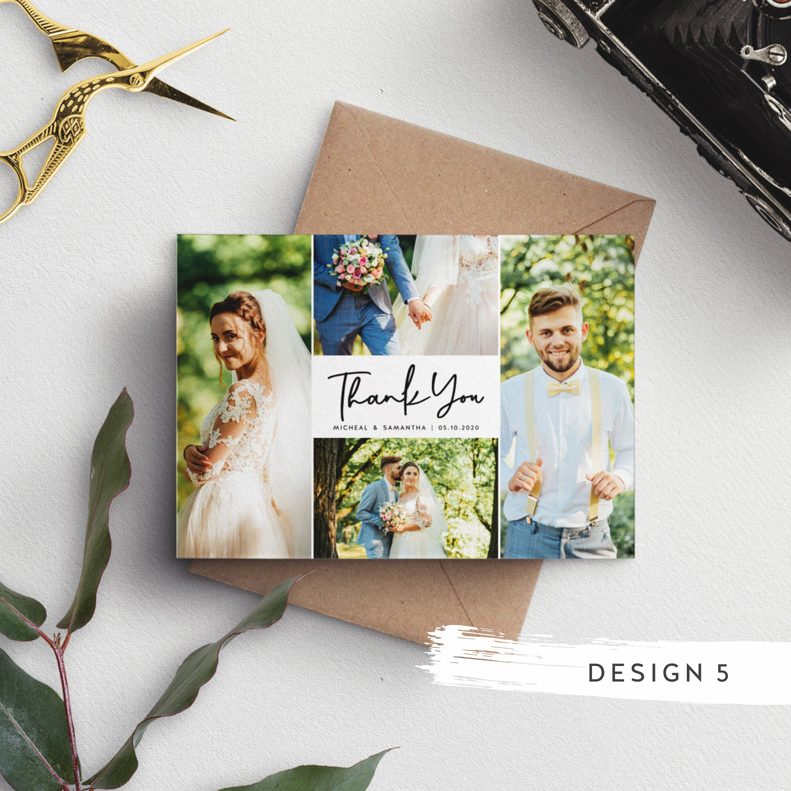 Wedding Thank You Card With Photo Thank You Wedding Cards Etsy In 2020 Photo Thank You Cards Wedding Thank You Cards Personalized Thank You Cards