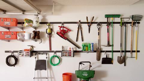 Rubbermaid FastTrack Garage Rail Accessory Starter Kit 11 Piece FTW1STRKIT   The Home Depot