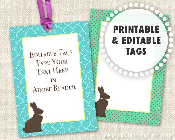 Editable bunny tags printable bunny gift tags chocolate bunny editable easter tags printable easter gift tags by revintagedart negle Image collections