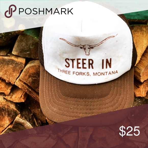Steer In Montana Trucker Hat brown and white steer in