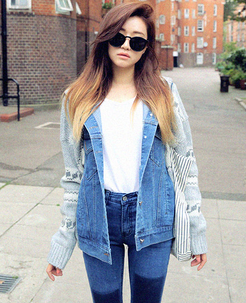 [STYLENANDA] PATTERN KNIT DENIM JACKET