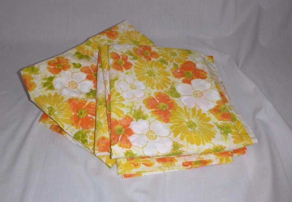 VTG Dan River Full Flat Sheet Tranquale Yellow Orange Floral