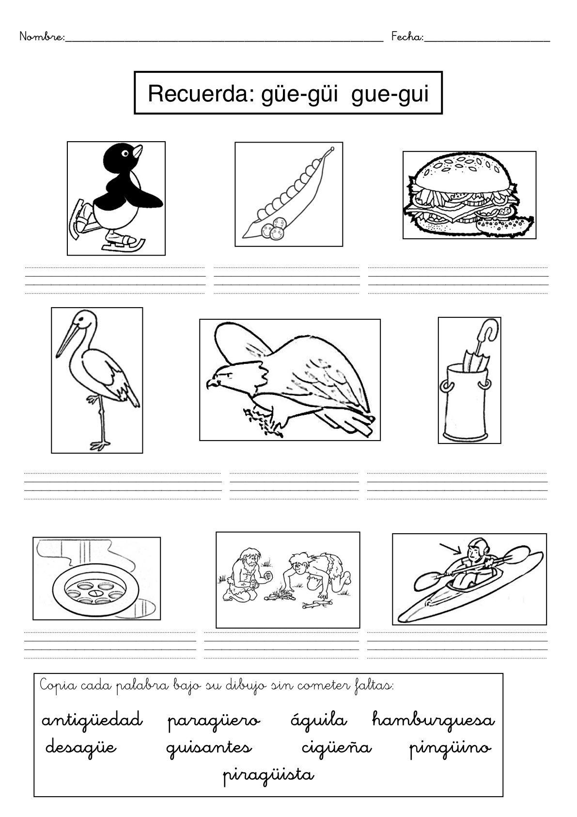 Recursos Para El Aula Fichas De Dificultades Ortográficas Fichas Para Trabajar Palabras Con Palabras Con Gue Gui Enseñanza De Las Letras Actividades De Letras