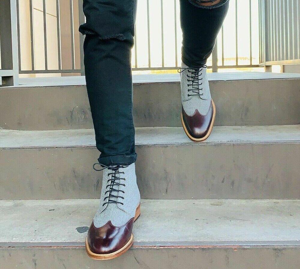 Handmade Mens Two tone Dress Boots, Men