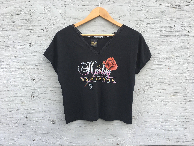 80s Vintage Harley Davidson T Shirt 3d Emblem Deadstock Size Medium Rose Motorcycle Womens Biker Shirt Cropped 50 50 Shirt Tee With Images Harley Davidson T Shirts Biker Shirts Vintage Harley Davidson