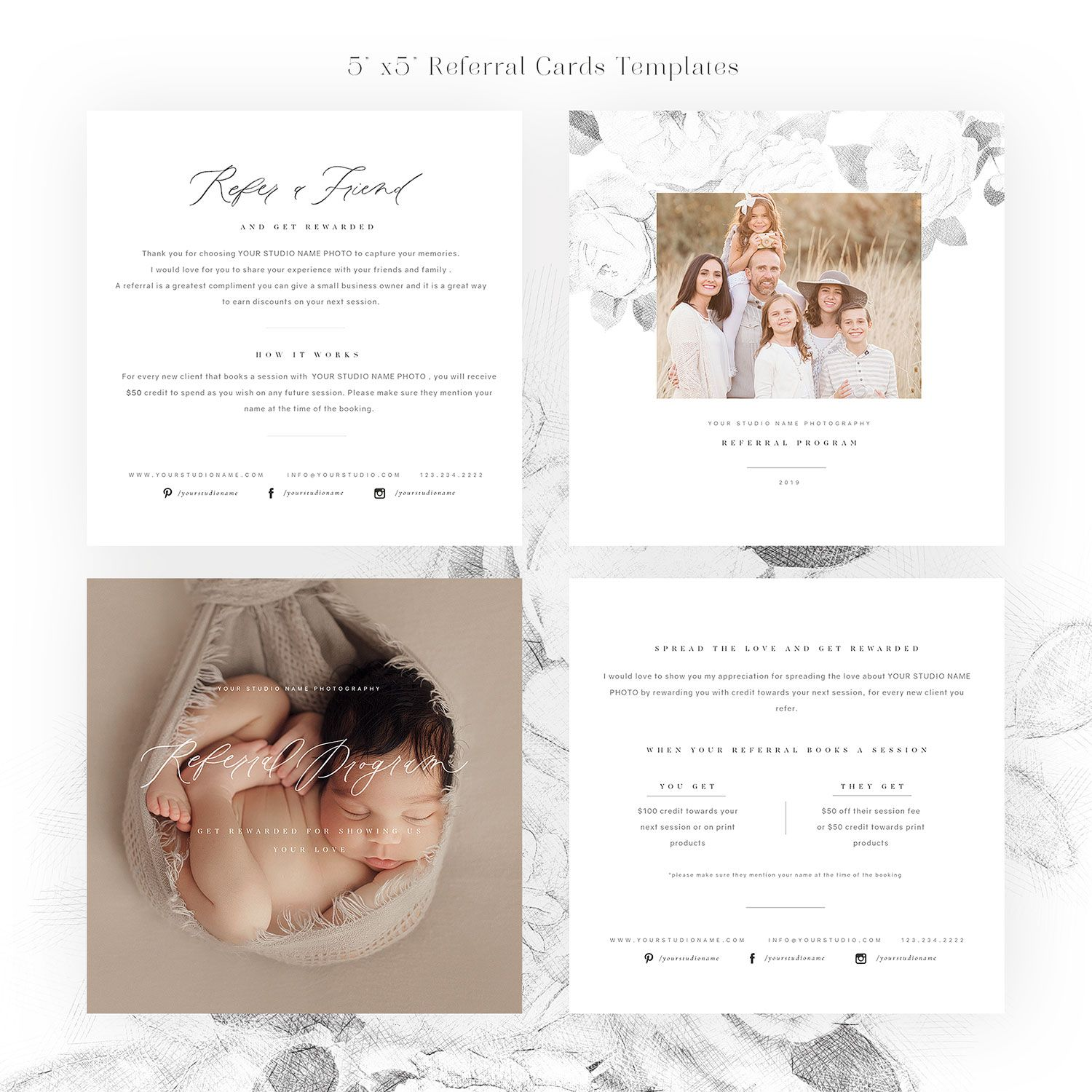 Referral Love 5 5 Card Templates Pertaining To Photography Referral Card Templates Professional Te Referral Cards Free Business Card Templates Card Templates