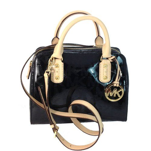 1752102777  michaelkors Michael Kors Small Satchel Mirror Metallic Black MK Signature Michael  Kors http