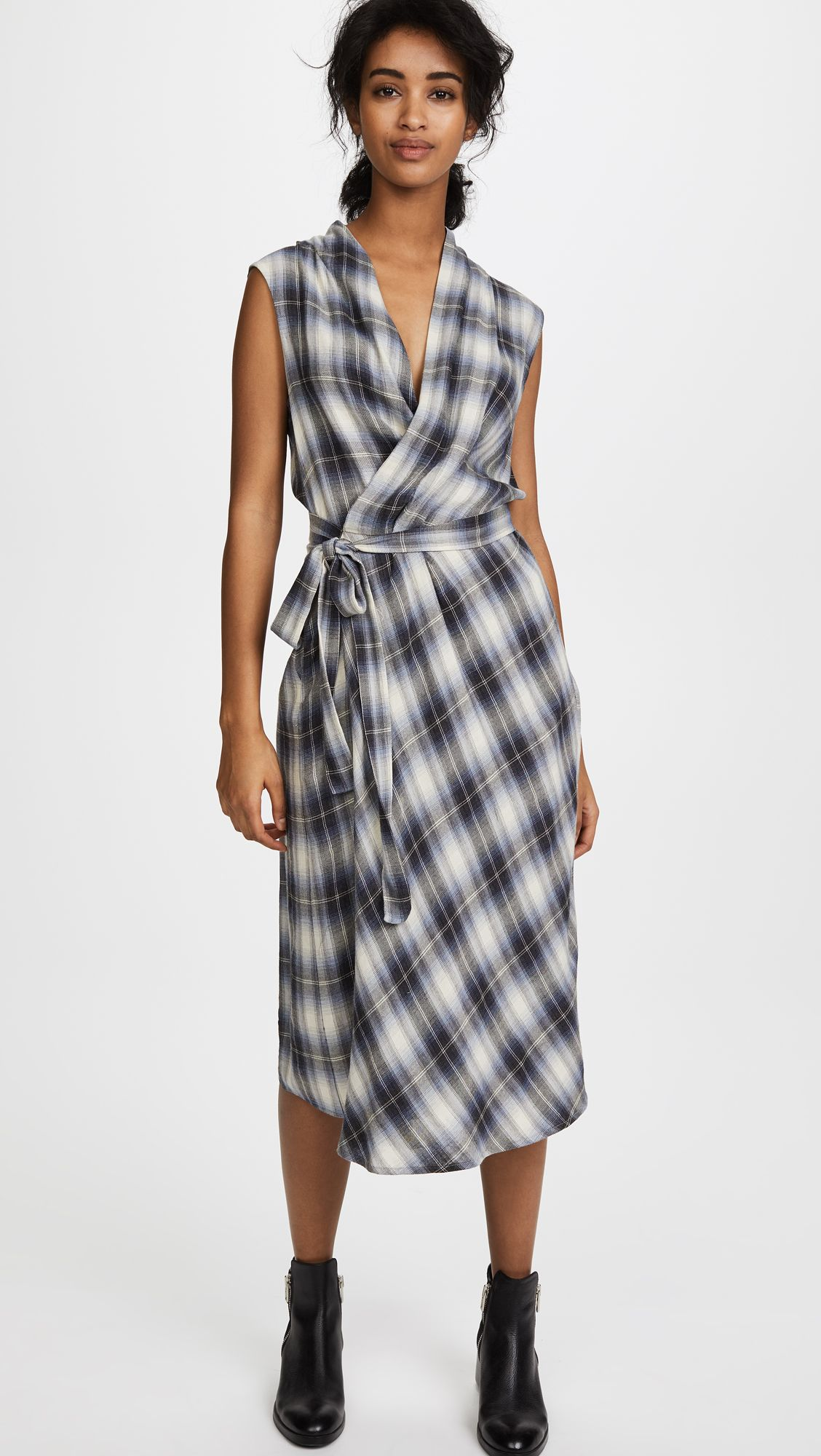 Vince Shadow Plaid Sleeveless Wrap Dress Shopbop Sleeveless Wrap Dress Wrap Dress Dresses [ 2000 x 1128 Pixel ]
