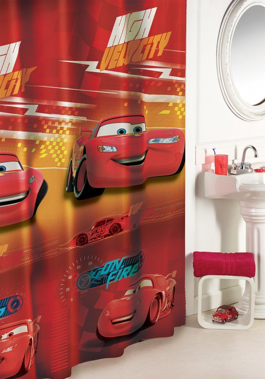 Disney Cars Bathroom Accessories Shower Curtain Decor Bathroom