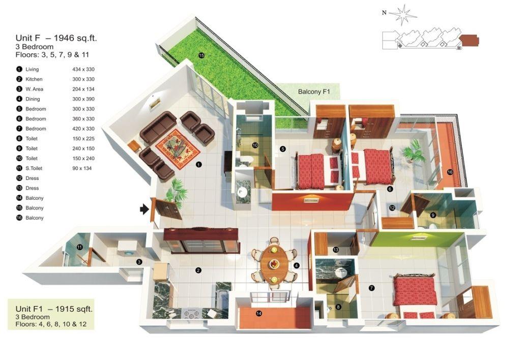 50 Three 3 Bedroom Apartment House Plans Architecture Design House Plans House Floor Plans Tiny House Plans