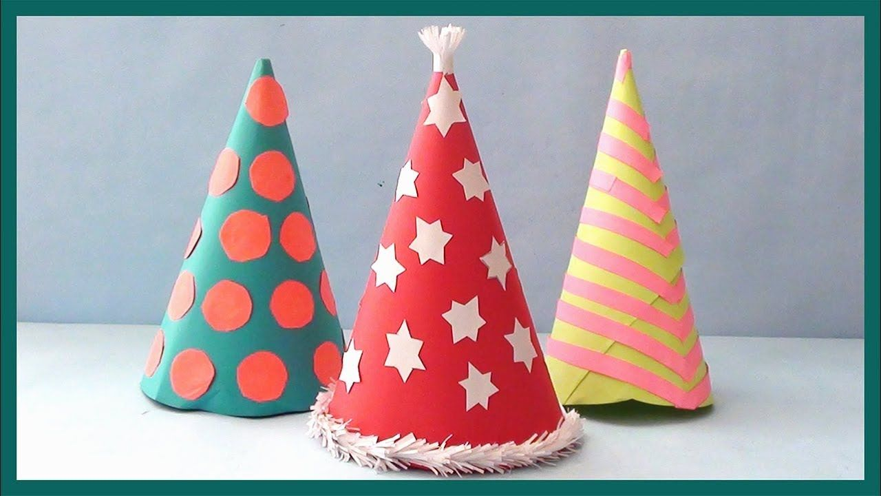 Diy Party Hat How To Make Santa Hat For Christmas Party Diy Birthday Party Hats Diy Party Hats Christmas Party Hats