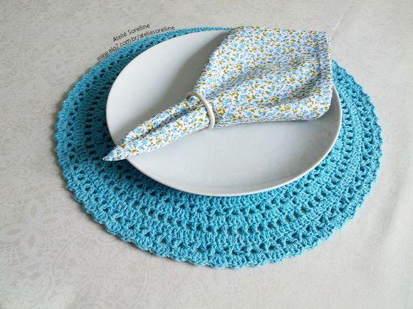Sousplat Crochê Azul Turquesa