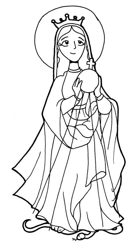 MARÍA, REINA DE LAS MISIONES para pintar.   Virgen María   Pinterest ...