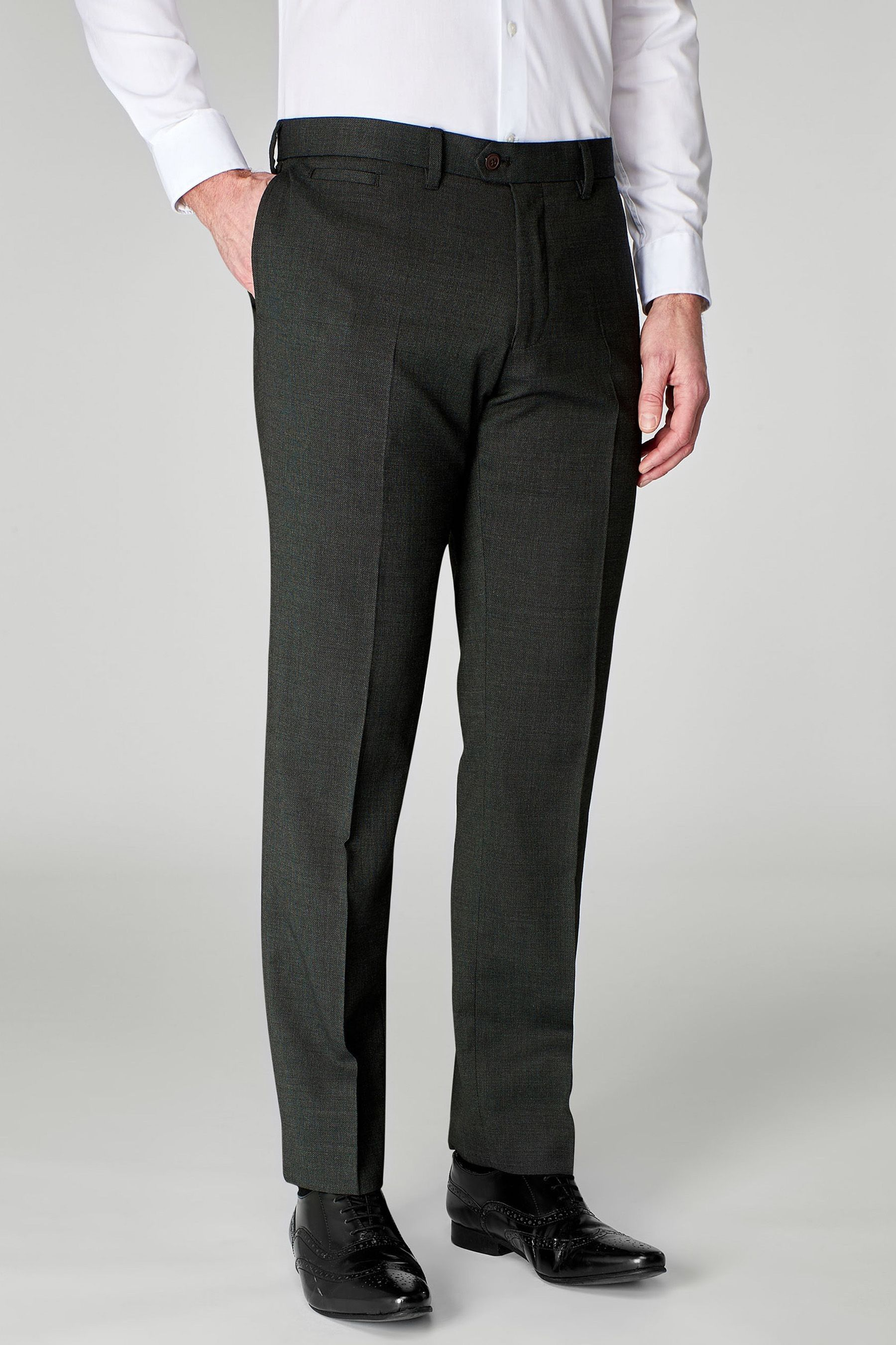 db3707b3d0 Mens Next Charcoal Grey Slim Fit Wool Blend Textured Trousers - Grey ...