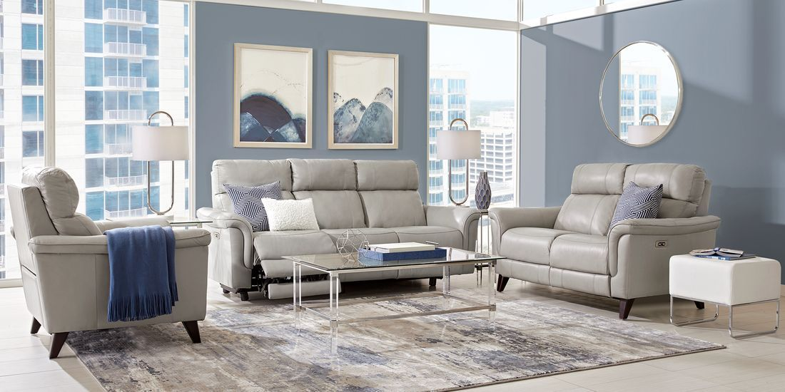 Best Cindy Crawford Home Avezzano Stone 3 Pc Leather Living 400 x 300