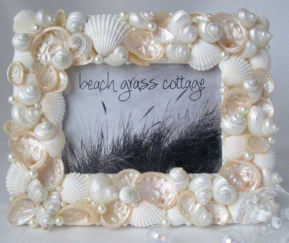 Photo of Beach Decor Seashell Frame, Nautical Decor, Beach Wedding Frame, Beach Wedding Gift, Coastal Decor Shell Frame, 5×7″