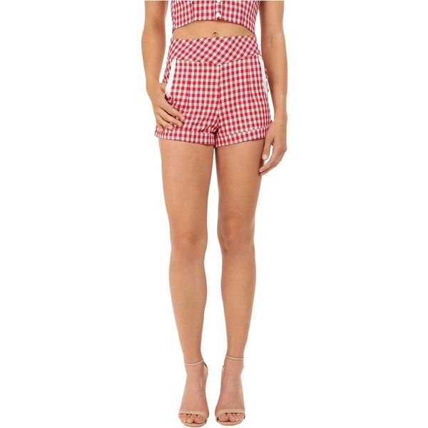 Unique Vintage 1940's Style High Waist Duke Shorts (Red Gingham)... ($20) ❤ liked on Polyvore featuring shorts, red, highwaist shorts, high rise shorts, high-rise shorts, pocket shorts and high waisted shorts