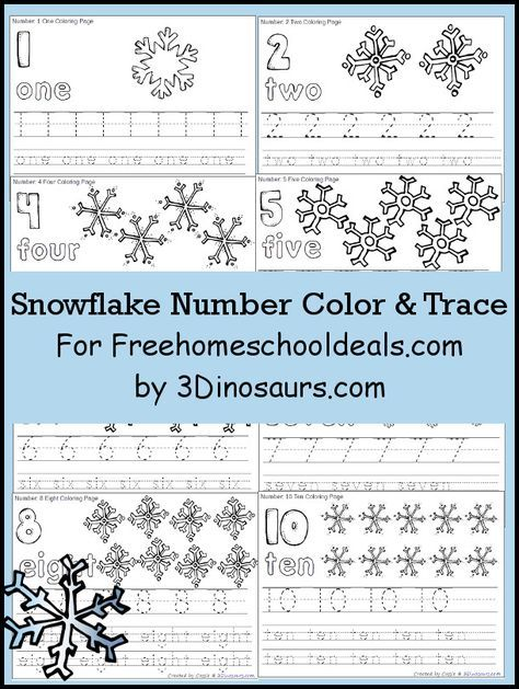 Free Snowflake Number Color & Trace - Numbers 1 to 10 - 3Dinosaurs ...