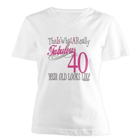 40th Birthday Gifts Womens V Neck T Shirt