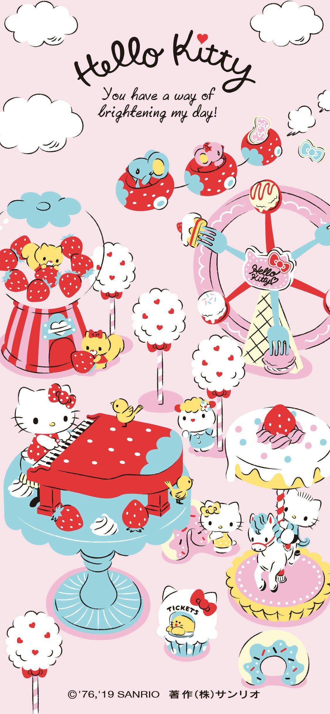Hello Kitty Ichigo(Strawberry) theme phone wallpaper for
