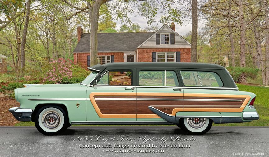 1955 lincoln capri town squire brought to you by house of insurance in eugeneoregon. Black Bedroom Furniture Sets. Home Design Ideas