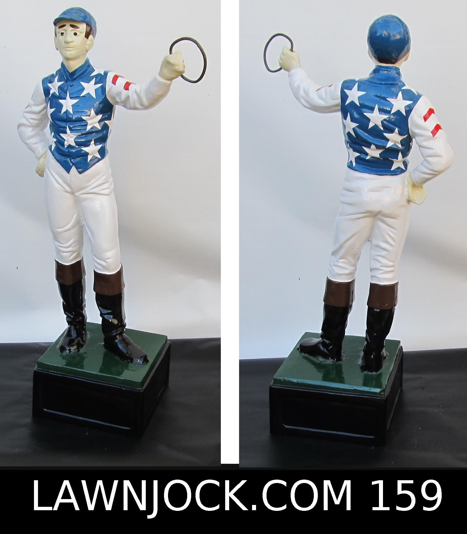 The traditional lawn jockey statue is taking back America's boring suburban neighborhoods one yard at a time. Your lawn is next! Want an REAL METAL jock professionally painted using 2 coats of high gloss enamel like this one shipped directly to your mansion in about 3 weeks? Visit lawnjock.com for a price quote today and reference custom example #159.